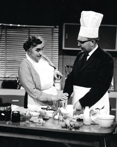Marjorie Daines, the East of England's first television cook, in the About Anglia studio with Dick J