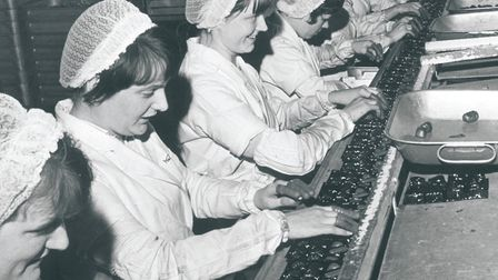 Workers on the chocolate line, Rowntree Mackintosh, April 1969. Photo: Archant library