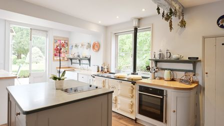 The four-over Aga kitchen at The Red House at Withersdale in the Waveney Valley. The property is for