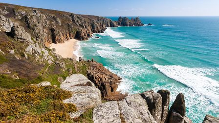 Pedn Vounder Beach from Treen Cliffs. Photo credit: Ian Woolcock, Getty Images/iStockphoto