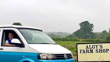 Mark and campervan at Algy's Farm Shop. Photo: Mark Fitch