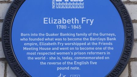 A commemorative plaque at the Friends Meeting House, Upper Goat Lane, Norwich to prison reformer Eli