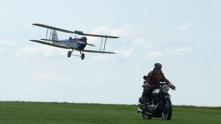 Lawrence races a Gypsy Moth at Compton Abbas airfield in the film Lawrence After Arabia Copyright Gr