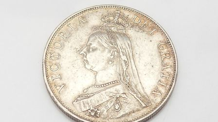A Queen Victoria double florin at Woodbridge Antiques Centre. It was nicknamed Barmaid's Grief. Imag
