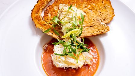 Cromer crab with a brown crab meat toast. Photo: Steve Adams