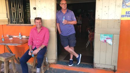 David Lloyd with another Lancashire cricketing great, Michael Atherton, in a West Indies rum shack