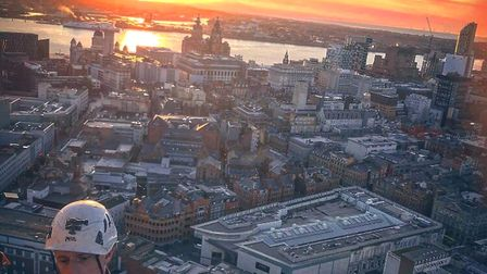 Sunset over Radio City and the St Johns Beacon in Liverpool provides a fabulous vista as the team wo