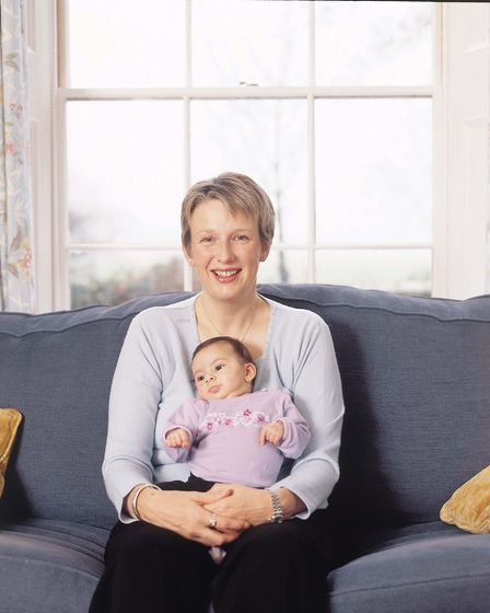 Jayne-Anne Gadhia, when she was managing director of the Virgin One Account, with her baby daughter