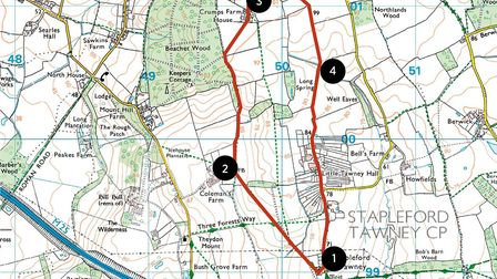 A map of the Stapleford Tawney walking route (©Crown copyright 2020 Ordnance Survey. Media 003/20)