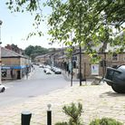 Looking toward the Tilted Vase sculpture in the centre of Ramsbottom