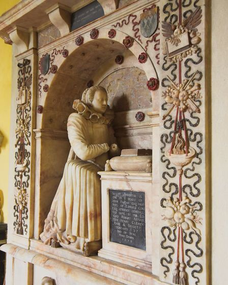 The tomb of Briget, first wife of Sir Edward Coke, inside the church at Tittleshall. Picture: Ian Bu