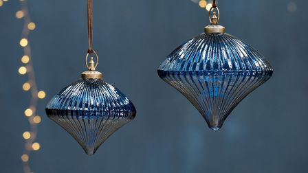 Nkuku, Bouka glass baubles in amber and indigo (from £16.95, set of four) from The Emporium. Picture