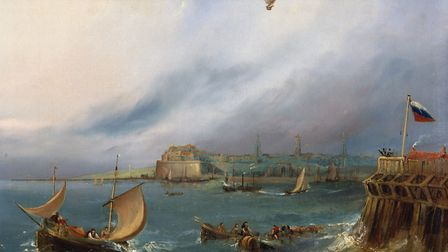 An oil painting made c 1840 by E W Cocks depicts Jean-Pierre Blanchard's balloon arriving at Calais