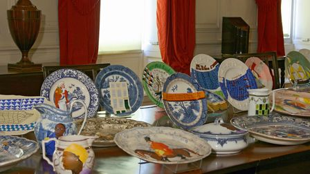 Part of Lubaina Himid's Swallow Hard dinner service at the Judges Lodgings Museum. Photo courtesy of