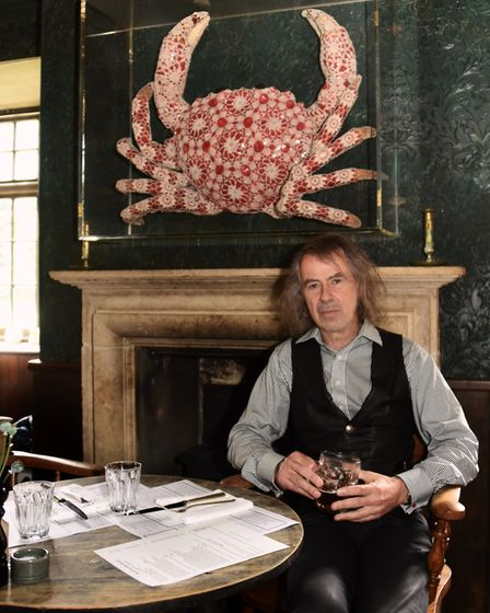 Owner Ivor Braka with the artwork, a Cromer crab by Joana Vasconcelos, at the Gunton Arms. Picture: