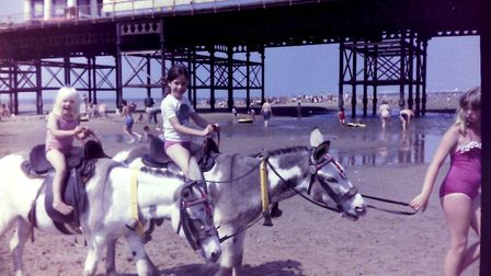 Sara Foster on Blackpool beach as a young girl