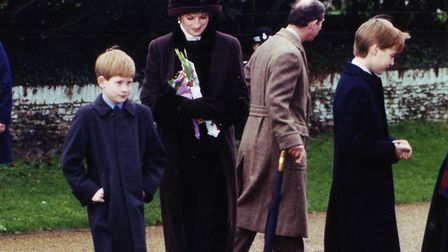 Prince Harry, left, and Prince William, right, with their parents the Prince and Princess of Wales a