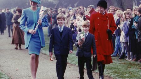 The Princess of Wales (left) at Sandringham with Prince William and Harry and the Princess Royal (ri