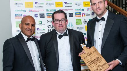 Best Afternoon Tea Sanjay Kaushal of Castlemeadow Care with Jamie Symons and Tim Gibb of The Crown