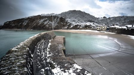 Polkerris Beach in the snow- Photo Ben Hawkins