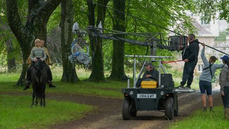 Filming a riding scene in the beech avenue at Cranborne Manor Photo: Netflix 2020