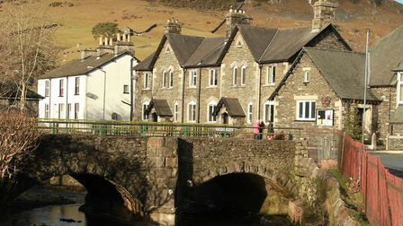 The River Gowan and Staveley Village Hall.
