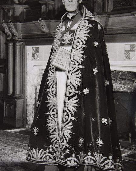 Alan Campbell Don, Dean of Westminster, in his robes for the coronation of Queen Elizabeth II. He le