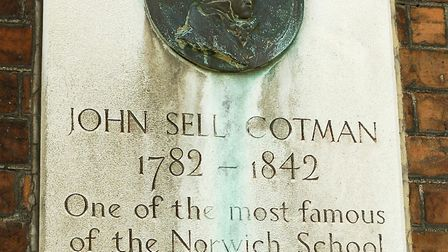 A plaque outside Norwich School artist John Sell Cotman's former home. Picture: James Bass