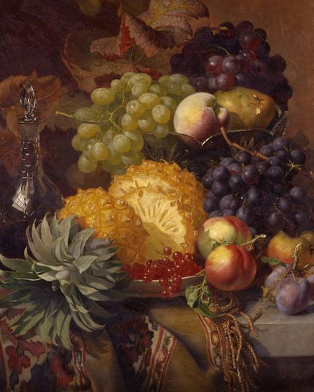 A detail from Eloise Harriet Stannard, Fruit: Grapes, Peaches, Plums and Pineapple with a Carafe of