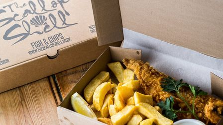 The Scallop Shell offers delicious dishes like this haddock and chips for you to eat at home
