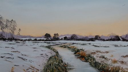 Frosty Reeds at Thornage. Pastel by Kieron Williamson, then aged eight. Photo courtesy Kieron Willia