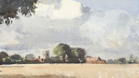 Antingham Church, watercolour by Kieron Williamson. Photo courtesy Kieron Williamson
