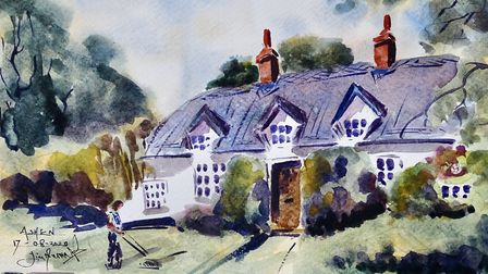 Cottages in the street (artwork by James Merriott)