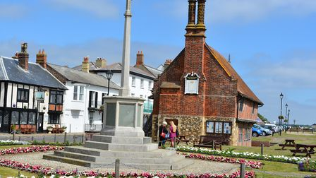 Aldeburgh's War Memorial honours the men and women of the twon who fell in two world wars. Image: An