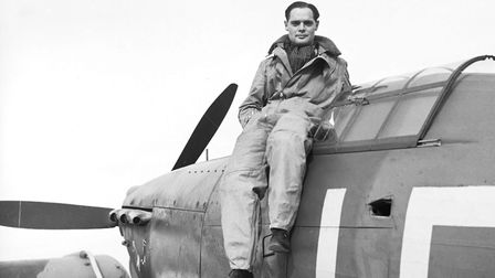 Douglas Bader photographed atop a Hurricane at the North Weald Sector of Fighter Command, based in E