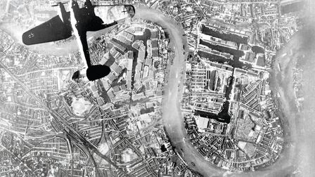 A German bomber flies over the East End of London, September 1940. Photo: The collections of the Imp