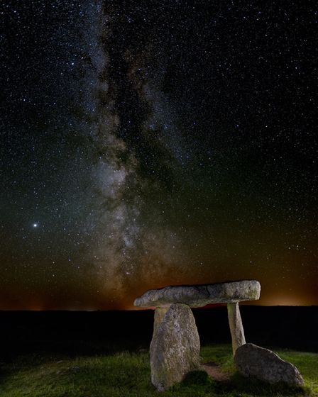 The Milky Way in the sky behind Lanyon Quoit by Chris Colyer