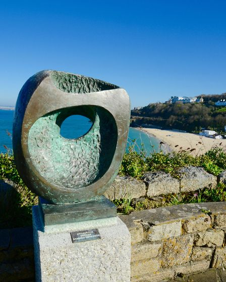 Barbara Helpworth sculpture overlooking St Ives