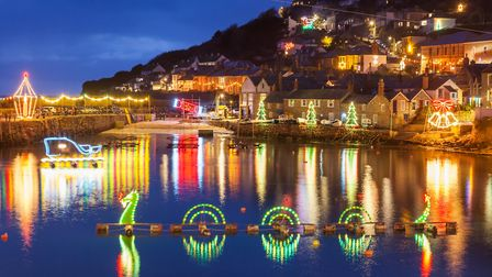 Which West Cornwall fishing village has special Christmas lights?