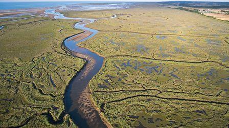 Stonemeal Creek running through saltmarsh between Wells and Stiffkey (looking east) on Holkham Natio