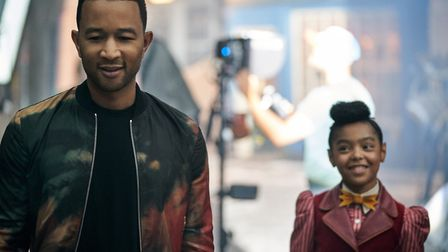 John Legend and Madalen Mills on the set of Jingle Jangle: A Christmas Journey. Picture: Gareth Gat