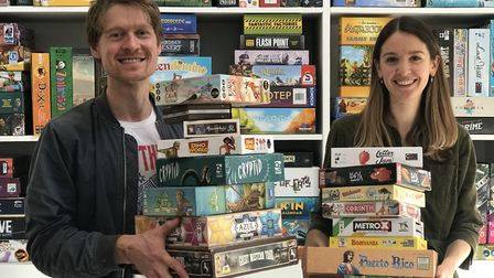 Nick Hanington and Chantal Verlinden with some of the board games which can be hired frrom Lazy Hors