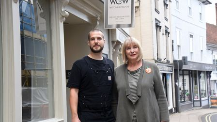 Ruth Watson and Rob Walpole outside their new Italian restaurant in Framlingham Picture: CHARLOTTE