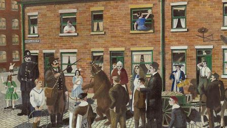 George's first painting, 'I don't call that dancing', shows the dancing bear on Portland Street