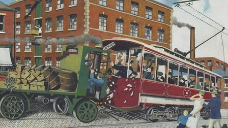 'The John Street tram smash' depicts a Sentinel steam lorry colliding with an electric tram