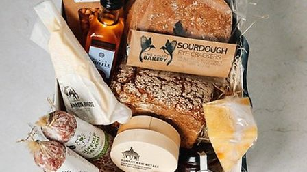 A hamper stuffed with Suffolk treats from two Magpies Bakery. Image: Two Magpies Bakery