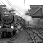 BR standard Britannia 7MT No. 70002 Geoffrey Chaucer arrives at London Liverpool Street with the up