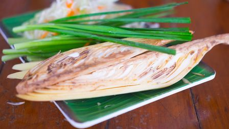 Fresh banana blossom with spring onion - the blossom is a popular dish in south-east Asian cuisine.