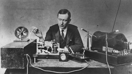 Guglielmo Marconi, surrounded by some of his paraphernalia in 1901 (photo: Google-hosted LIFE Photo Archive)