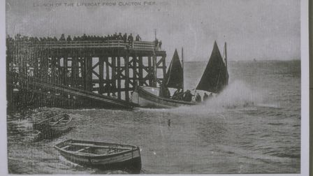 Clacton lifeboat Self Righter class ON 32 'Albert Edward' launching from Clacton Pier (photo courtes